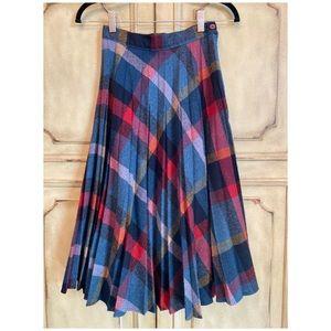 Vintage Plaid Wool Pleated Midi Skirt